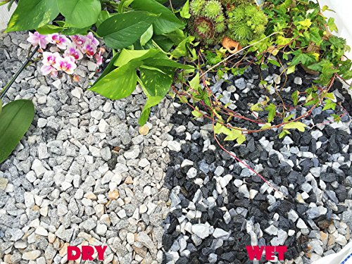 Gravier Gravillons Pierre Ardoise Dissuader les mauvaises herbes Jardin Patio Allée Plante Dessus - Black Ice Marbre (14-20 mm), 20KG