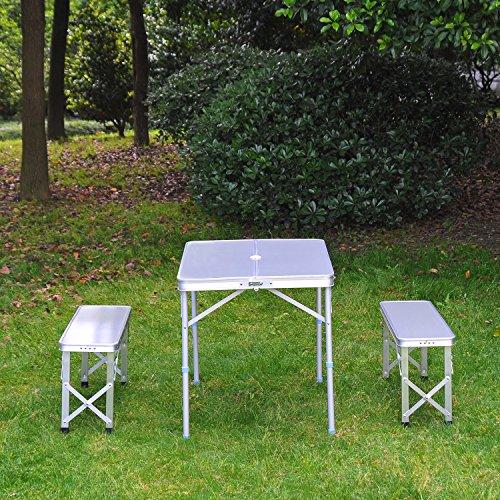 Outsunny 3pc Folding Picnic Table Bench Set Foldable Portable ...