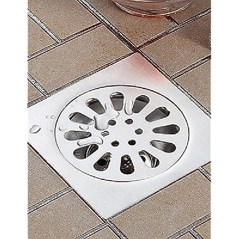 3pollice quadrato da bagno di scarico a pavimento in Acciaio Inox doccia spazzola di acque reflue succhieruola