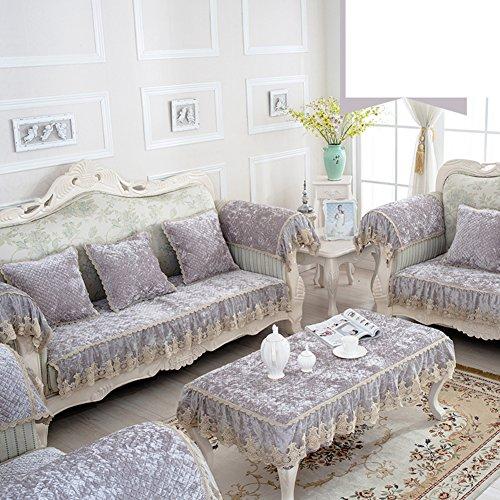 Amazon SE7VEN Estilo europeo Cojines de sofá, Moderno Simple Toalla de sofá Felpa Tela Anti-que patina Asiento La cubierta del sofá-F 65x190cm(26x75inch)