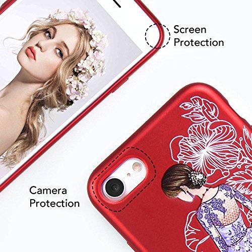 iPhone 6 6S Hülle, Imikoko® iPhone 6 6S Glitzer Beauty 3D Blumen Rundumschutz Handy Hülle Schutzhülle Weich Silikon TPU Case Super Sweet Cute für Girl Frauen Mädchen(Mädchen im Rot) Mädchen im Lila