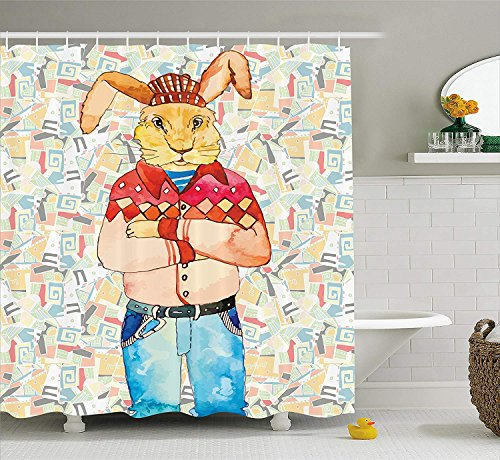 TAMMY CHAPPELL Hippie Decor Shower Curtain, Hipster Fashion Rabbit in Punk Clothes Indie Look Modern Funky Humor Design, Fabric Bathroom Decor Set with Hooks, 84 inches Extra Long, Multicolor