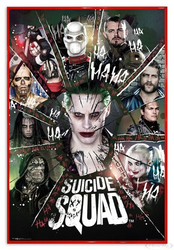 Close Up Suicide Squad Poster Joker & Team Ha Ha Ha (94x63,5 cm) gerahmt in: Rahmen rot (Joker Poster Ha)
