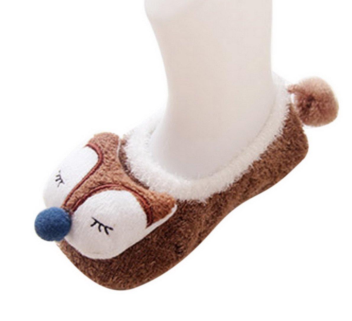 Happy Cherry - 3 Pares de Recién Nacido Calcetines Antideslizantes Primer Paso para Primavera Otoño Zapatillas de Casa… 2