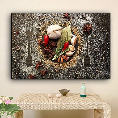 Grani Spezie Cucchiaio E Forchette Cucina Tela Pittura Cuadros Poster E Stampe Wall Art Food Picture Soggiorno Home Decor 50x70 CM senza cornice PA1289