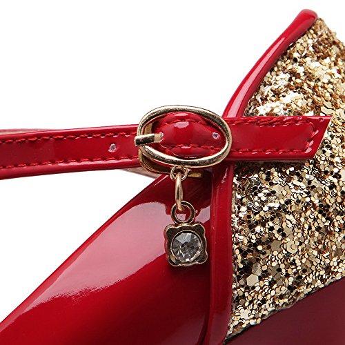 AllhqFashion Damen Spitz Zehe Schnalle Pu Leder Gemischte Farbe Hoher Absatz Pumps Schuhe Rot