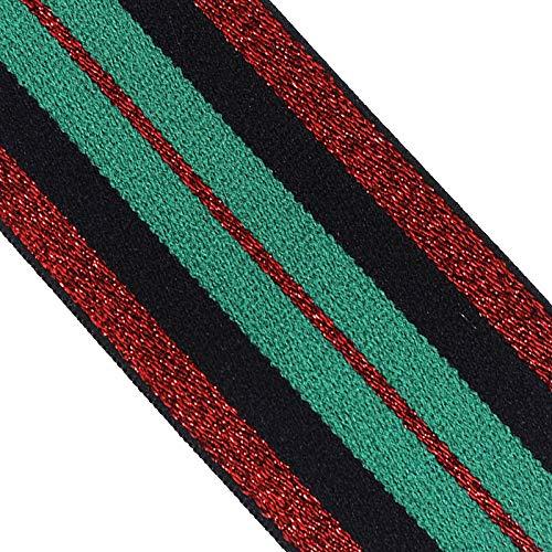 Sunbe shine Green Red Elastisches Band Band Band Spitze Trim Band Gurtband Basteln Nähzubehör 2,54 m, 4.8cm Width -