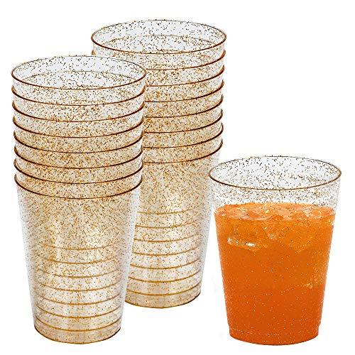 50 Einwegbecher 300 ml aus Plastik mit Gold Glitzer - Ideale Becher für Bier und andere Kaltgetränke- für Party, Camping, Geburtstag, usw. -