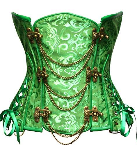 Bslingerie® Gothic Damen Steampunk Stahl ohne Knochen Unterbrust Korsett Corsage Wäsche Korsett Korsagen (M, Grün)