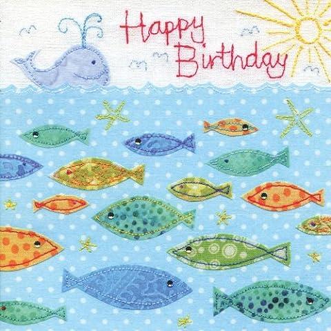 Finition à la main Baleine et poisson carte d'anniversaire