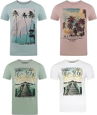 riverso RivLukas Men's T-Shirt with Round Neck Photo Print Regular Cotton Animal Print S - 5XL Pack of 4