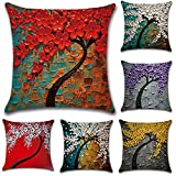 JOTOM Oil Painting Large Tree Flower Cushion Cover Sofa Car Pillow Case Cover Home Bedroom Decor 45 x 45cm, Set of 6 (Tree)