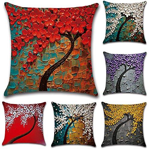 JOTOM Fodera per Cuscino Cotone Lino Fodere per Cuscini Federa Divano Auto Cuscino Home Bed Decor 45 x 45 cm, Set di 6
