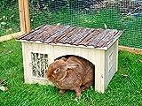 Nagerhaus mit Heuraufe Nature 42 x 34,5 x 27 cm geeignet für Zwergkaninchen