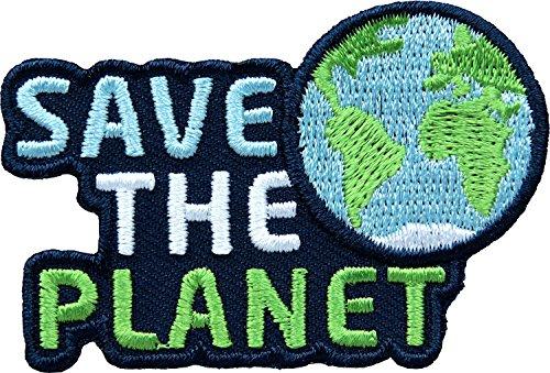 2 x Stick-Abzeichen 59 x 39 mm / Save the Planet / Schutz von Umwelt Natur Klima Umweltschutz Naturschutz Klimaschutz Bio Öko Erde Welt Nachhaltigkeit / Aufnäher Aufbügler Flicken Sticker Patch