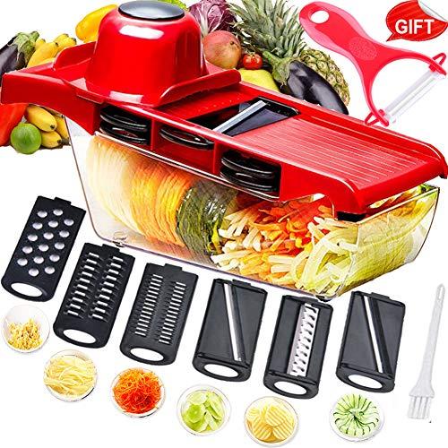 Mandolina cortadora multifuncional,cortador de verduras,trituradora de alimentos,picadora rallador,6...