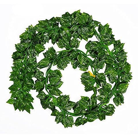 ubagoo 72pieds 12vigne artificielle Feuillage Vert Faux Guirlande feuilles de vigne pour maison jardin mur Décoration de Fête de