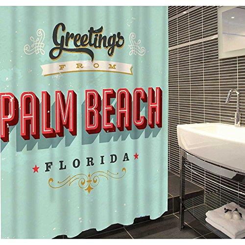 Duschvorhang Textil ( Polyester ) 180x200 cm Palm Beach Florida US Diner Stil grün rot schwarz wasserabweisend Anti-Schimmel waschbar / Badewannenvorhang Vorhang, hochwertige Qualität mit Ringen