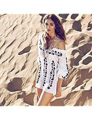 qxj Blanco y Negro Algodón Bordado Blusa Blusa Tamaño Bikini Playa La Playa Sol Vestido