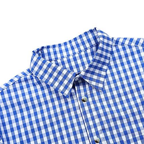 KoJooin Trachten Herren Hemd Trachtenhemd Langarmhemd Freizeithemd Baumwolle - für Oktoberfest, Business, Freizeit (Blau M) - 4