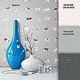 NEWROOM Tapete Grau Kühe Punkte Küche Vliestapete Vlies moderne Design Optik Tapete Landhaus inkl. Tapezier Ratgeber