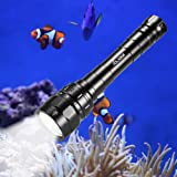 VOLADOR Diving Flashlight, 3100 Lumen Diving Torch Rechargeable, 3* CREE XPL LED Scuba Dive Light 100 Meters Submersible Lights with 2x 18650 Battery and Charger