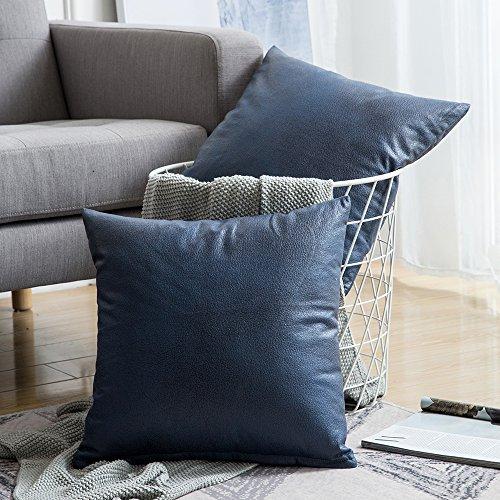 MIULEE 2er Set Solid Dekorative Faux Leder Quadrat Throw Kissenbezug Set Kissen Fall für Sofa Schlafzimmer Auto 18x18 Zoll 45x45 cm Navy Blau -