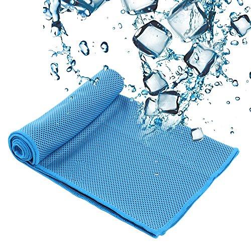 SZRWD Cooling Towel, 31 * 100 cm Cool Ice Handtuch/Weicher Cool Bambus Faser/Eiskaltes Handtuch/Kühlendes Halstuch für Reise, Camping, Golf, Wandernu, Sport im Freien-Blau -