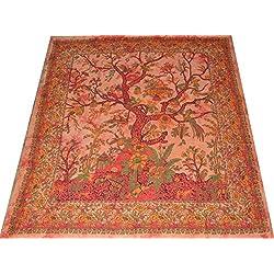Tagesdecken Copriletto/copridivano/copriletto indiano con motivo tribale con alberi della vita e fiori, 240 x 210 cm (23.2)