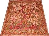 Tagesdecken Indien Bettüberwurf Wandbehang Batik Tribal Vorhang Überwurf Lebensbaum Vögel Blumen Tischdecke Decke Türkis 240 x 210 cm (23.2)