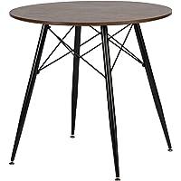 DORAFAIR Runder Esstisch Dunkle Holzfarbe Beistelltisch,MDF Küchentisch mit Schwarz lackierte Eisenbeine und Rahmen, 80…