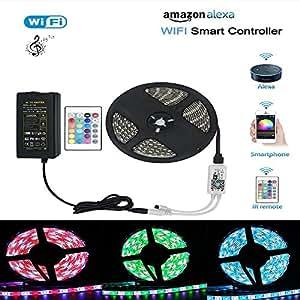 wifi alexa lichtband wasserdichter 5m rgbw lichtband 300leds 5050smd led strip smart phone app. Black Bedroom Furniture Sets. Home Design Ideas
