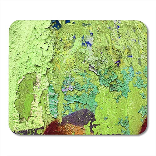 Gaming-Mauspad, Mauspads Mouse Pads Colorful Khaki Dark Slate Grey and Olive Drab Sprayed Graffiti on Aged Cracked Brick Wall with Drips Mouse Pad mats Office Supplies -