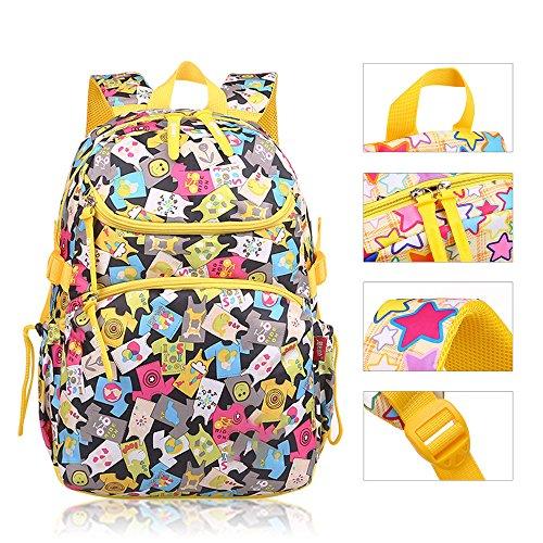 KINDOYO Jungen Mädchen Wasserdichte Rucksack für Kinder Unisex Schulrucksäcke Rucksack für Reisen, Wandern Farbenfrohe Kleider