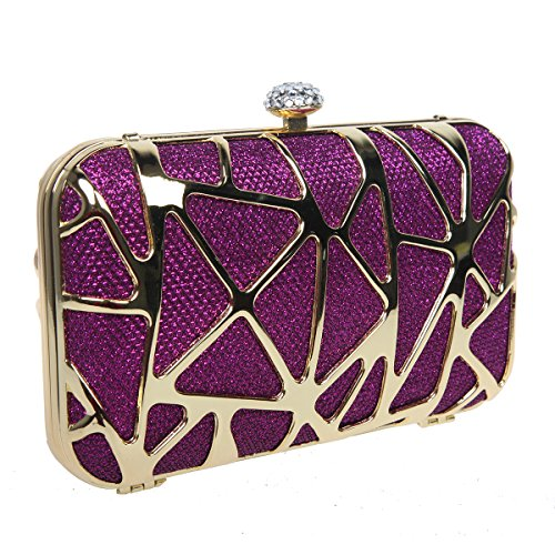 Bonjanvye Special Water Cube Box Evening Clutches Purses for Girls Silver Purple