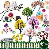 coardor adornos de jardín de hadas miniatura erizo seta búho árbol puente conejo pollito Signpost diseño de mariquita rosa valla DIY Casa de muñecas–Maceta de decoración hogar decoración Pack de 49