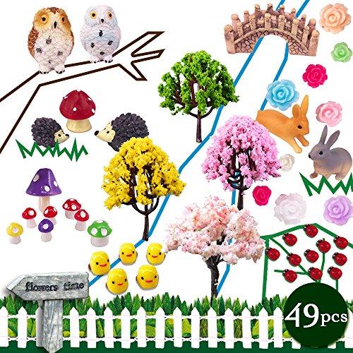 Coardor Miniatur-Feengarten-Verzierungen; Pilz, Igel, Eulen, Bäume, Brücke, Kaninchen, Wegweiser, Marienkäfer, Hühner, Rosen; Outdoor- und Indoor-Dekoration, 49-in-1-Set (Marienkäfer Miniatur)