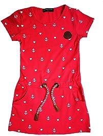 b09e3e055859ee SQUARED & CUBED Sommerkleid Kleid Herz Anker Baumwolle hellrot