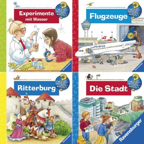 Portada del libro Ravensburger Mini-Bilderspaß Wieso? Weshalb? Warum? 2 (4er-Set): Experimente Wasser, Flugzeuge, Ritterburg, Die Stadt