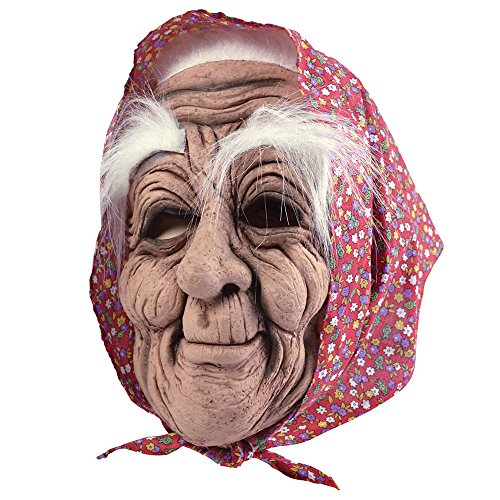 Bristol Novelty bm432Alte Frau Maske mit Kopftuch, one ()