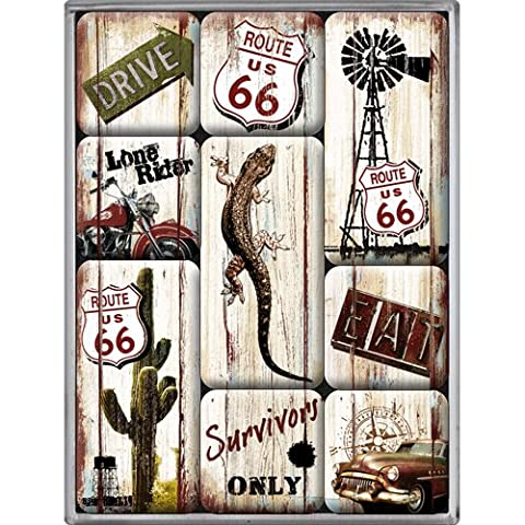 Nostalgic-Art 83049 US Highways Route 66 Desert Survivor, Magnet-Set, 9-teilig