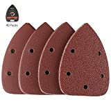 40Pcs Detail Sander Paper, Tacklife Mouse Sanding Pads Mixed Grits 40/80/120/240 5Holes Detail Sandpaper Sheet 14-*140 * 100MM, Ideal for Sanding/Polishing/Rust Removal ASD01C