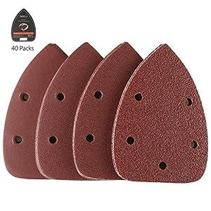 Carte Abrasive per Legno 40 Pezzi Tacklife ASD01C Kit di Fogli Abrasive 4 Tipi 10 x 40/80 / 120/240 Graniglie Ideale per… 61LFR8h9qXL. SS300