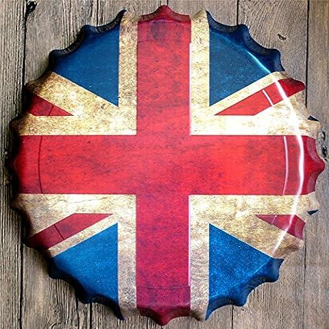 Yanqiao Large Retro 3D British Flag Logo Bottle Cap Tin Signs Wall Decor Diameter 40cm/15.7