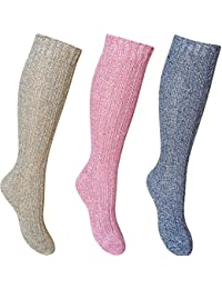 Ladies Chunky Ribbed Knit Deluxe Wool Blend Long Length Hiking Socks (3 Pair Multi Pack)