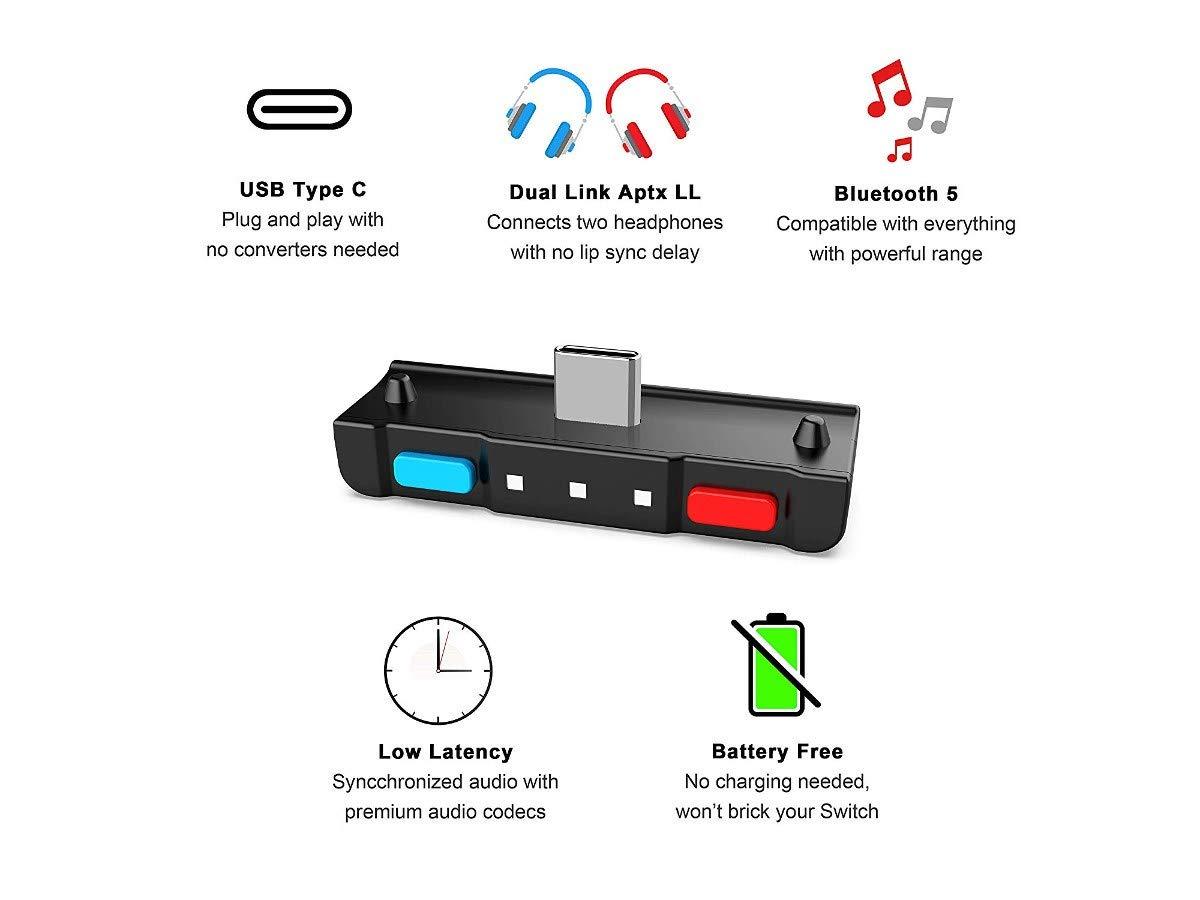 977aecb4fd74f3 Trasmettitore audio Bluetooth compatibile per Nintendo interruttore -  HS3-NS001-RB-V2 < Kit di cavi e adattatori < Videogiochi - tibs