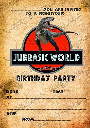 Jurassic World / Dinosaurier Geburtstagsparty-Einladungen, inkl. Umschläge, 8 Stück, 8