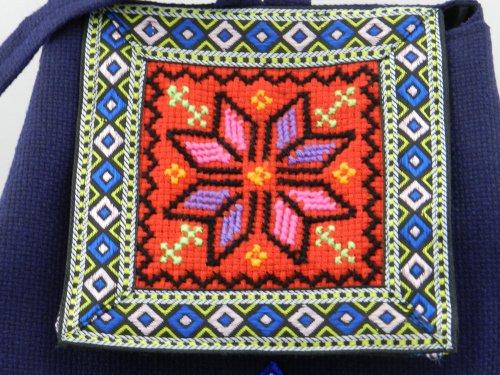 National Wind Frauen Taschen stickerei Blume Umhängetaschen Travel Rucksack retro Personalisierte lässig Taschen, Hellgrün Pink