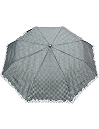Sshakuntlay Polka Dot Printed With Frills, 3 Fold Fancy Automatic Umbrella For Rains, Summer & All Year Use (Random...