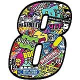 Startnummer Nummern Zahl Auto Moto Vinyl Aufkleber Bomb Sticker Motorrad Motocross Motorsport Racing Nummer Tuning (8), N 208